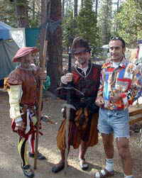A vacation rental guest strikes up a conversation with Renaissance Fair participants.