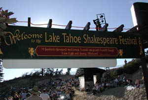 SHAKESPEARE On the beach features nightly performances of two Shakspeares plays each year.  Here you see the crowd gathering to plant their beach chairs in the sand before the sun sets over Lake Tahoe..  This Shakespeare festival is 30 minutes from Accommodation Tahoe's vacation rentals.
