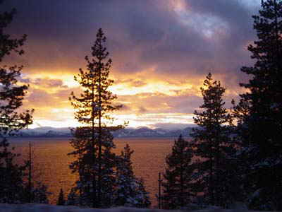 One of breath taking views of Lake Tahoe , pictured here a winter sunset overlooking the lake.