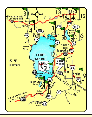 A Golf Map from Accommodation Tahoe's vacation rentals
