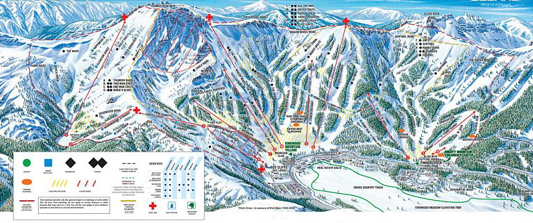 kirkwood0 Resort Ski Map just 45 minutes from Accommodation Tahoe's vacation rentals.