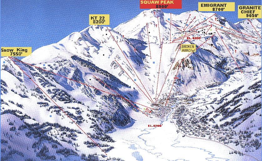 Squaw Valley Ski Map by Accommodation Tahoe